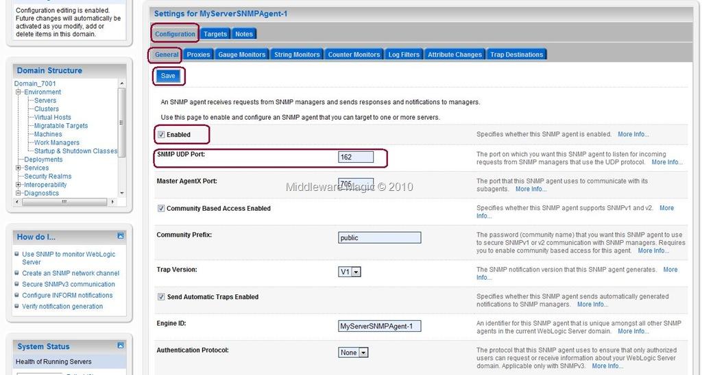 Steps to Configure SNMP agent on Weblogic Server « WebLogic